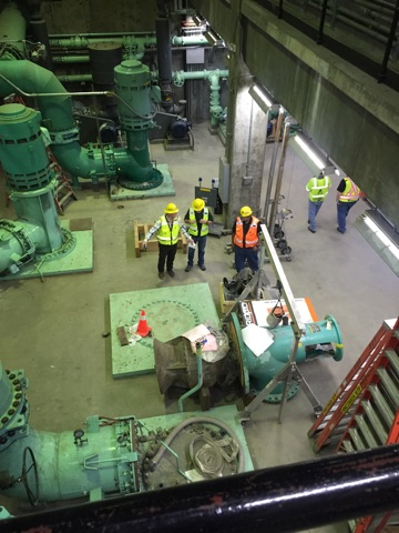Contractors went deep into the treatment plant during the tour.