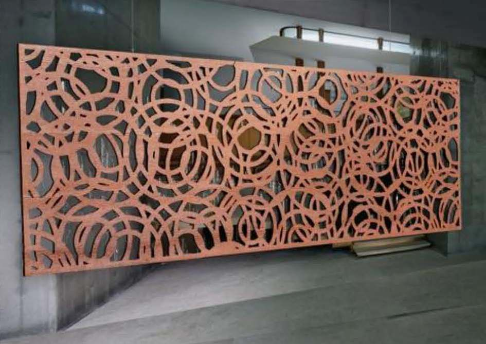 The entrance gate is laser-cut, rusted steel. The district worked with HKIT Architects to design an elegant entryway, where form meets function.